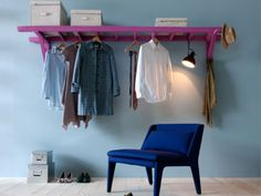 Kleding aan de ladder, diy coat clothes hanger, roomsaver
