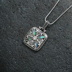 Natural Paua shell square pendant