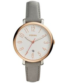 Fossil Women's Jacqueline Gray Leather Strap Watch 36mm ES4032 | macys.com