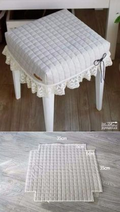 Stool Covers, Table Covers, Furniture Covers, Diy Furniture, Diy Home Crafts, Diy Home Decor, Diy Pillows, Cushions, Slipcovers For Chairs