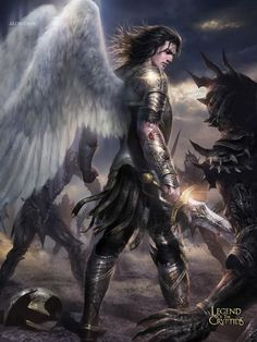 Artist: Alon Chou - Title: Unknown - Card: Judo the Half-God Angels Among Us, Angels And Demons, Fantasy Male, High Fantasy, Male Angels, Angel Warrior, Dark Warrior, Archangel Michael, Guardian Angels