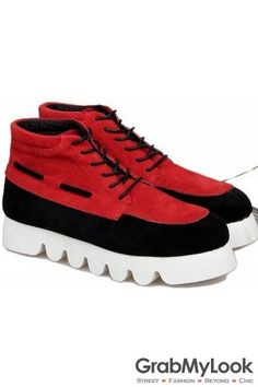 GrabMyLook Red Suede Leather Mens High Top Lace Up White Zig Zag Sole Sneakers Boots