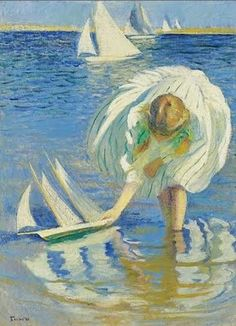 Edmund Charles Tarbell (American Impressionist, 1862–1938) Girl with a Sailboat