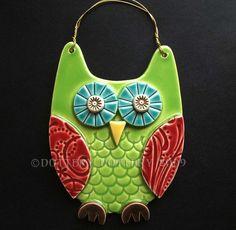 Green Owl ceramic hanging decoration  £11.00