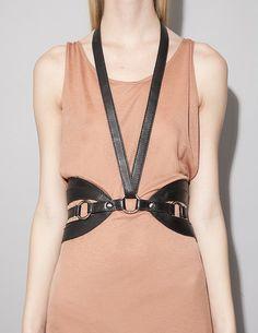 Harness belt + loose shift dress