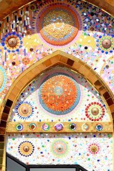 mosaic wall decorative ornament from ceramic broken tile Stock Photo