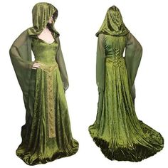 Medieval Renaissance Maxi Train Dress Adult Women Halloween Devil Pagan Witch Wedding Costume Hooded Gown Robe For Ladies Green Long Sleeve Maxi, Maxi Dress With Sleeves, Unique Dresses, Beautiful Dresses, Long Dresses, Witch Wedding, Celtic Wedding, Gothic Wedding, Halloween Dress