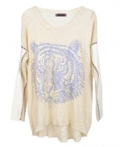 High Low Tiger Sweater with Studded Sleeves
