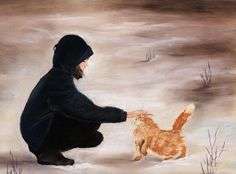 Girl And A Cat Painting