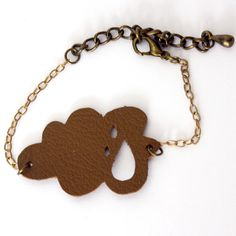 Brown little cloud, leather bracelet