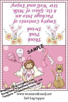 Happybird's Crafting Haven: Cancer Awareness Topper~Fill With Serving Of Nestle Strawberry Quick
