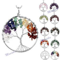 Handmade Wire Wrap Tree of Life Gems Chip Beads Pendant Craft for Necklace DIY | eBay
