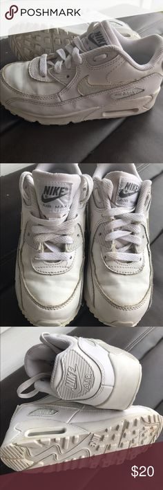 Solid white Nike Air Max kids Solid white Nike Air Max Children's size 13C. Only worn a few times. Still in good condition. Can be cleaned. Nike Shoes Sneakers