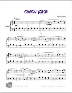 Swan Lake | Sheet Music for Piano (Digital Print) - CLICK HERE for more info http://makingmusicfun.net/htm/f_printit_free_printable_sheet_music/swan-lake-intermediate-piano.htm
