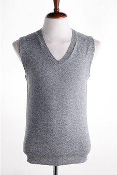 Men New Style Spring V-Neck Individual Korean Style Light Grey Blends Sweater Vest M/L/XL@M03lg