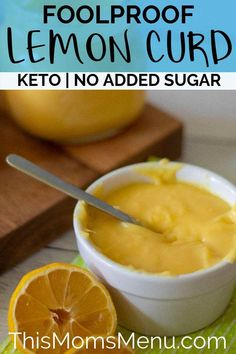 Sugar free lemon curd strikes the perfect balance between sweet and tart. It's so easy to make and comes out creamy and delicious every single time. Lemon Dessert Recipes, Real Food Recipes, Snack Recipes, Yummy Food, Low Carb Desserts, Low Carb Recipes, Diabetic Desserts, Diabetic Recipes, Healthy Recipes
