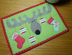 Christmas Antlers Mug Rug Pattern