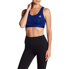 adidas Tech Fit Sports Bra (22 CAD) ❤ liked on Polyvore featuring activewear, sports bras, racerback sports bra, racer back sports bra, adidas activewear, adidas sportswear and adidas sports bra