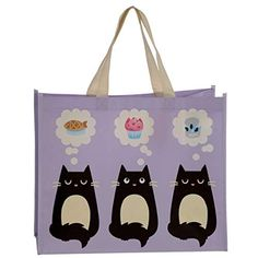 Feline Fine Cat Design Durable Reusable Shopping Bag (Save when you buy 2 or more items! Reusable Shopping Bags, Reusable Tote Bags, Cat Design, Folded Up, Travel Bags, Great Gifts, Weaving, Handbags, Cats