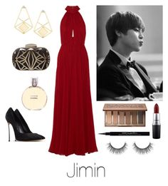 """Prom with Jimin"" by btsoutfits ❤ liked on Polyvore featuring Elie Saab, Casadei, Chanel, MAC Cosmetics, Urban Decay, Givenchy, women's clothing, women, female and woman"