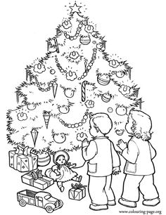 This beautiful Christmas tree is decorated and surrounded by many gifts. Looks like that the kids are charmed! Enjoy with this printable coloring page!