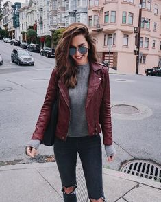 Wanting to take your leather jacket outfit into the next level? Find 5 Best Leather Jacket Outfit Ideas to Copy Now! Burgundy Leather Jacket, Burgundy Outfit, Maroon Jacket, Leather Jacket Outfits, Biker Jacket Outfit Women, Burgundy Fashion, Men's Leather, Real Leather, Trendy Outfits