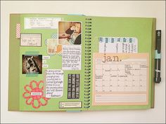 Smash book page by jackiep1102, via Flickr. Great idea for monthly pages...