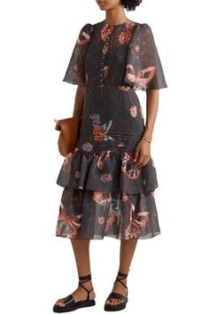 See By Chloé - Tiered Printed Chiffon Midi Dress Chan Luu, Black Midi Dress, Butterfly Print, See By Chloe, Chiffon Dress, World Of Fashion, Your Style, Cold Shoulder Dress, Spring Summer