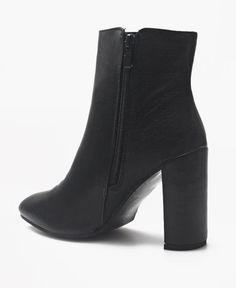 Ankle Boots - Black Ladies Black Ankle Boots, Block Heels, Leather Boots, Zip Ups, Booty, Pairs, Fashion, Moda, Swag