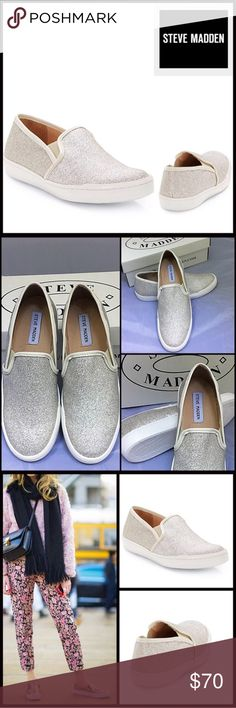 "STEVE MADDEN SLIP ON SNEAKERS Sparkle Glitter Steve Madden Glitter Stylish Sneakers Slip-On Flats. Round Toe, all over glitter design. Side stretch insets. Slip on. High Quality,  well made. Ballet flat heel, approx. .50"" high. Man made upper and sole. Steve Madden Shoes Sneakers"