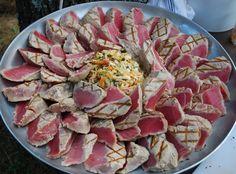 Grilled sushi-grade tuna      www.bluemountainb... #HudsonValley #antipasti #antipasto #weddings #catering #appetizers #grilling #entertaining