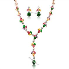 18k rose GP multicolor crystal necklace earrings jewelry set for lady N367