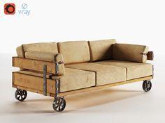 Industrial Sofa (v-ray, corona) ~ Furniture Models ~ Creative Market Unique Furniture, Industrial Furniture, Industrial Style, Furniture Sets, Furniture Stores, Interior Window Trim, Interior Paint, Interior Design Games, Faux Stone Panels