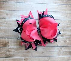 Girls hair bows Navy blue Pink Hair bows by PoshPrincessBows1
