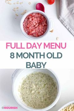 A Nutritious 8 Month Old Meal Plan For Your Baby. #mealplan #8monthold #babyfood #babyrecipes #babynutrition Homemade Baby Puree Recipes, Pureed Food Recipes, Baby Food Recipes, Homemade Recipe, Healthy Baby Food, Healthy Eating, Strawberry Snacks, Strawberry Oatmeal, 8 Month Old Baby Food