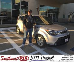 https://flic.kr/p/ETtvaq | Happy Anniversary to Jon on your #Kia #Soul from Clinton Miller at Southwest Kia Mesquite! | deliverymaxx.com/DealerReviews.aspx?DealerCode=VNDX