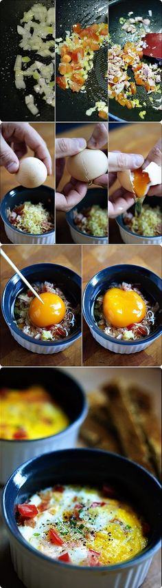 Baked egg with fried onion, tomato, ham and cheese Huevo al horno con un sofrito de cebolla, tomate, jamon y queso Subido de Pinterest. http://www.isladelecturas.es/index.php/noticias/libros/835-las-aventuras-de-indiana-juana-de-jaime-fuster