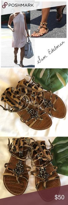 SAM EDELMAN Gladiator Sandals Tribal-inspired beading and calf hair upper Sam Edelman Giada gladiator sandals in great condition!  These look great with everything!!  Photo shows them being worn by Halle Berry! Sam Edelman Shoes Sandals