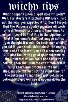 Witchy Tips - What to Do When a Spell Doesn't Work Witchcraft....For beginners who are unsure to adepts who want to know more!