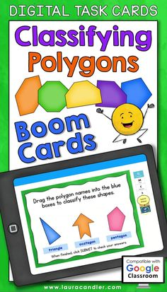 Classifying Polygons digital self-checking Boom Cards are a fun way for students to practice identifying and classifying polygons based on their properties. #BoomCards #DigitalTaskCards #DistanceLearning #classifyingpolygons Teacher Hacks, Best Teacher, Elementary Education, Upper Elementary, Teaching Math, Maths, Active Engagement, Engage In Learning, Read Aloud