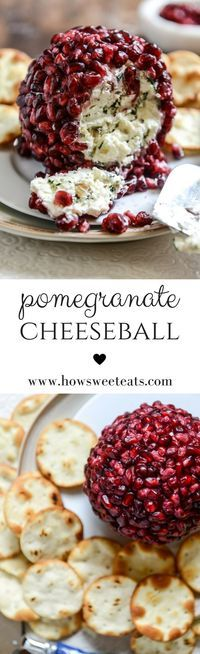 Pomegranate Jeweled Cheeseball I http://howsweeteats.com /howsweeteats/ #thanksgiving #appetizers