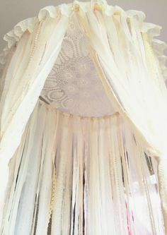 Dreamcatcher Canopy☽ This beautiful handmade canopy is perfect for any room, especially a nursery or a feminine bedroom ☆ Leave the fabric hanging or tie back sides