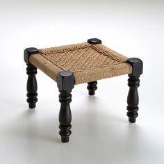 """Hocker """"Adas"""", Holz und Sisal, indischer Stil"""