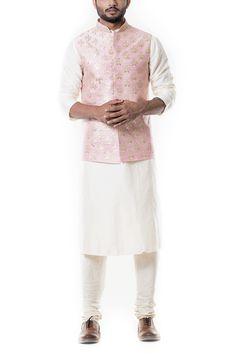 Zadi Embroidered Pink Waist Coat Set by Anju Agarwal Wedding Dresses Men Indian, Wedding Dress Men, Wedding Men, Wedding Suits, Trendy Wedding, Wedding Stuff, Wedding Attire, Nehru Jacket For Men, Nehru Jackets