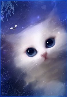 white cat looking into pond for fishes. I think I haven& painted any cats for a bit c: used paint tool sai and photos. White Kittens, Cats And Kittens, Ragdoll Kittens, Tabby Cats, Funny Kittens, Bengal Cats, Black Cats, Kitty Cats, I Love Cats