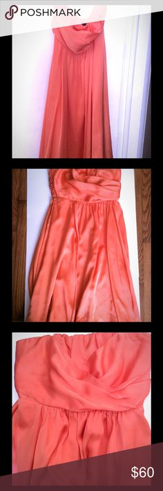 The Limited- Bridesmaid dress Orange/Peach bridesmaid dress for sale. Minor wear and tear but barely worn. Perfect for a wedding or event! The Limited Dresses Strapless