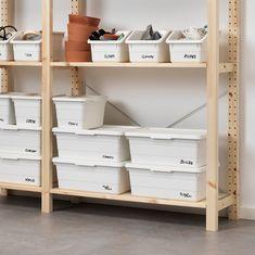 SOCKERBIT Box, white - IKEA Storage Boxes With Lids, Small Storage, Storage Baskets, Garage Storage Shelves, Ikea Storage, Laundry Storage, Organisation Ikea, Home Organization, Organizing Labels