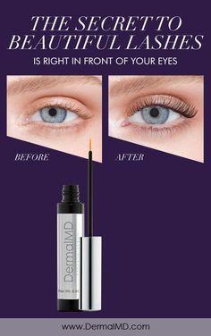 the secret to beautiful lashes and try dermalmd growth serum How To Grow Eyelashes, Eyelash Growth Serum, Natural Eyelashes, Rosacea, Fragrance, Lipstick, Eyes, Beautiful, Lipsticks
