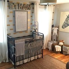 This Horse and Hound nursery is so sophisticated and cozy! This seemingly adult theme really translated well into a space that can grow with this little boy.