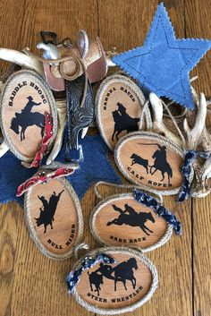 Rodeo Cowboy Christmas Ornaments - country western wood ornaments in 6 designs Cowboy Christmas, Christmas Store, Primitive Christmas, Country Christmas, Primitive Fall, Christmas Crafts, Western Christmas Tree, Primitive Snowmen, Primitive Crafts